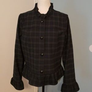 Chic and smart navy plaid tailored jacket